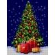 Haft krzyżykowy - do wyboru: kanwa z nadrukiem, nici Ariadna/DMC, wzór graficzny - Boże Narodzenie - Choinka (No 5804)