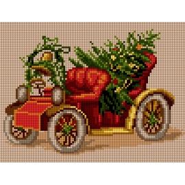 Haft krzyżykowy - do wyboru: kanwa z nadrukiem, nici Ariadna/DMC, wzór graficzny - Świąteczny samochód (No 5806)