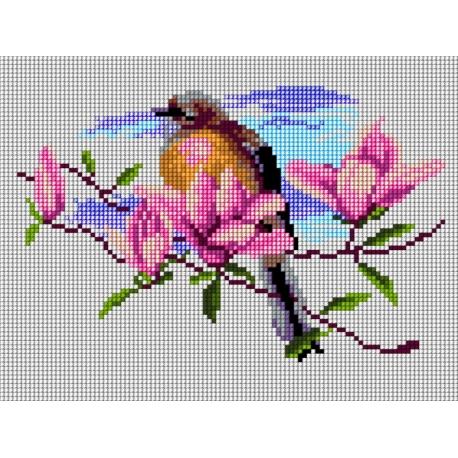 Haft krzyżykowy - do wyboru: kanwa z nadrukiem, nici Ariadna/DMC, wzór graficzny - Ptaszek na gałęzi (No 5807)