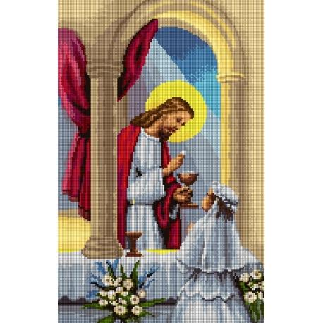 Haft krzyżykowy - do wyboru: kanwa z nadrukiem, nici Ariadna/DMC, wzór graficzny - Komunia Święta - dziewczynka (No 7199)