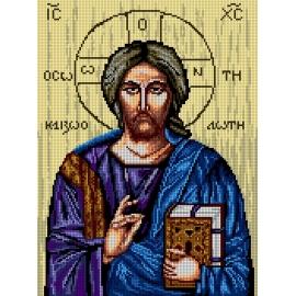 Haft krzyżykowy - do wyboru: kanwa z nadrukiem, nici Ariadna/DMC, wzór graficzny - Ikona - Jezus (No 7241)