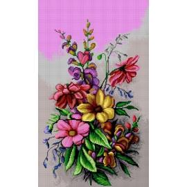 Haft krzyżykowy - do wyboru: kanwa z nadrukiem, nici Ariadna/DMC, wzór graficzny - Kwiaty (No 7211)