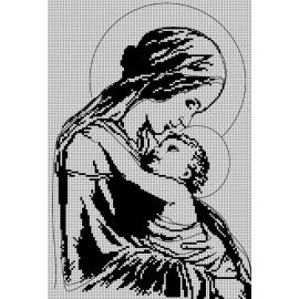 Haft krzyżykowy - do wyboru: kanwa z nadrukiem, nici Ariadna/DMC, wzór graficzny - Maryja z dzieciątkiem (No 7214)