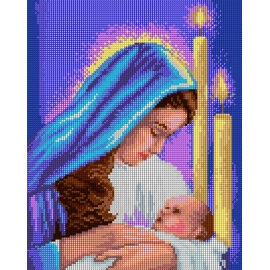 Haft krzyżykowy - do wyboru: kanwa z nadrukiem, nici Ariadna/DMC, wzór graficzny - Maryja z dzieciątkiem (No 7236) VI