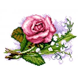Haft krzyżykowy - do wyboru: kanwa z nadrukiem, nici Ariadna/DMC, wzór graficzny - Róża (No 5818)