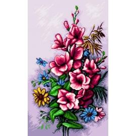 Haft krzyżykowy - do wyboru: kanwa z nadrukiem, nici Ariadna/DMC, wzór graficzny - Kwiaty (No 7212)