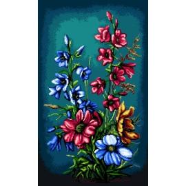 Haft krzyżykowy - do wyboru: kanwa z nadrukiem, nici Ariadna/DMC, wzór graficzny - Kwiaty (No 7213) VI