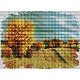 Haft krzyżykowy - do wyboru: kanwa z nadrukiem, nici Ariadna/DMC, wzór graficzny - Cztery pory roku - jesień (No 5285)