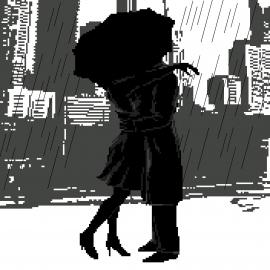 Haft krzyżykowy - do wyboru: kanwa z nadrukiem, nici Ariadna/DMC, wzór graficzny - Czułość w deszczu (No 7226)