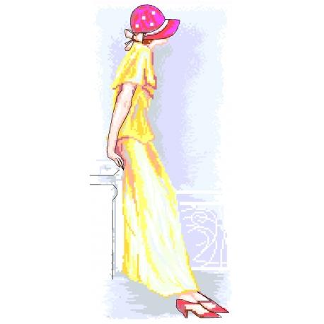 Haft krzyżykowy - do wyboru: kanwa z nadrukiem, nici Ariadna/DMC, wzór graficzny - Kobieta w kapeluszu (No 7229)