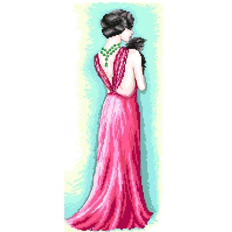 Haft krzyżykowy - do wyboru: kanwa z nadrukiem, nici Ariadna/DMC, wzór graficzny - Kobieta z kotem (No 7233)