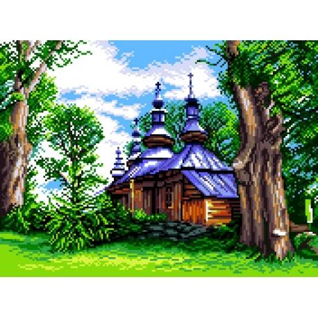 Haft krzyżykowy - do wyboru: kanwa z nadrukiem, nici Ariadna/DMC, wzór graficzny - Bieszczadzka cerkiew (No 7247)