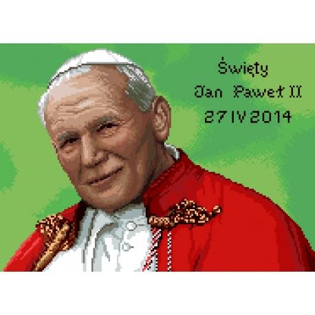 Haft krzyżykowy - do wyboru: kanwa z nadrukiem, nici Aridna/DMC, wzór graficzny - Święty Jan Paweł 2 (No 7248)