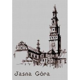Haft krzyżykowy - do wyboru: kanwa z nadrukiem, nici Ariadna/DMC, wzór graficzny - Jasna Góra (No 7251)
