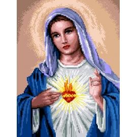 Haft krzyżykowy - do wyboru: kanwa z nadrukiem, nici Ariadna/DMC, wzór graficzny - Maryja z sercem (No 7254)