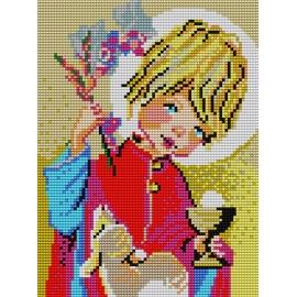 Haft krzyżykowy - do wyboru: kanwa z nadrukiem, nici Ariadna/DMC, wzór graficzny - Komunia święta (No 5060)