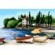 Haft krzyżykowy - do wyboru: kanwa z nadrukiem, nici Ariadna/DMC, wzór graficzny - Włoska plaża (No 5819)