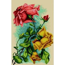 Haft krzyżykowy - do wyboru: kanwa z nadrukiem, nici Ariadna/DMC, wzór graficzny - Róże (No 5820)