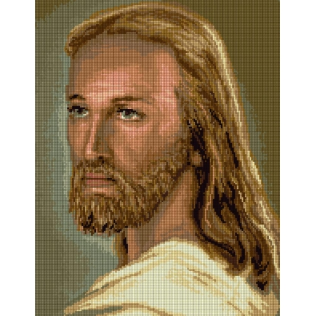 Haft krzyżykowy - do wyboru: kanwa z nadrukiem, nici Ariadna/DMC, wzór graficzny - Jezus Chrystus (No 7255)