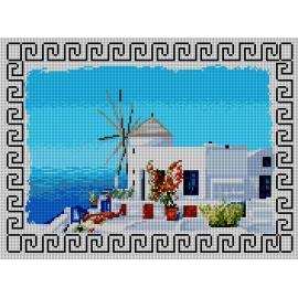 Haft krzyżykowy - do wyboru: kanwa z nadrukiem, nici Ariadna/DMC, wzór graficzny - Grecja (No 5821)