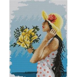 Haft krzyżykowy - do wyboru: kanwa z nadrukiem, nici Ariadna/DMC, wzór graficzny - Dziewczyna w kapeluszu (No 5289)