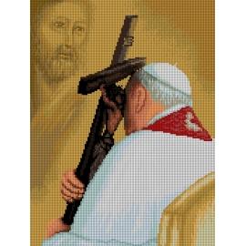 Haft krzyżykowy - do wyboru: kanwa z nadrukiem, nici Aridna/DMC, wzór graficzny - Jan Paweł 2 (No 7260)