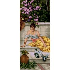 Haft krzyżykowy - do wyboru: kanwa z nadrukiem, nici Ariadna/DMC, wzór graficzny - Kobieta z gołębiami (No 7262)