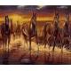 Haft krzyżykowy - do wyboru: kanwa z nadrukiem, nici Ariadna/DMC, wzór graficzny - Zachód słońca - konie (No 7265)