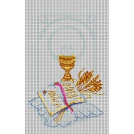 Haft krzyżykowy - do wyboru: kanwa z nadrukiem, nici Ariadna/DMC, wzór graficzny - Komunia Święta (No 5823)