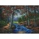 Haft krzyżykowy - do wyboru: kanwa z nadrukiem, nici Ariadna/DMC, wzór graficzny - Rzeka w lesie (No 7036)