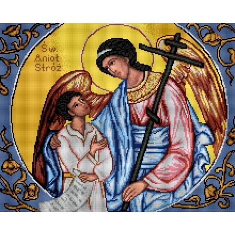 Haft krzyżykowy - do wyboru: kanwa z nadrukiem, nici Ariadna/DMC, wzór graficzny - Icon - Guardian Angel (No 7270)