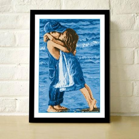 Przytulające się dzieci - Zestaw do haftu z nićmi