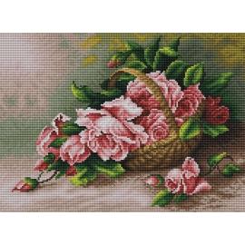 Haft krzyżykowy - do wyboru: kanwa z nadrukiem, nici Ariadna/DMC, wzór graficzny - Róże w koszyku wiklinowym (No 5296)