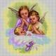 Haft krzyżykowy - do wyboru: kanwa z nadrukiem, nici Aridna/DMC, wzór graficzny Anioł Stróż (No 7274)