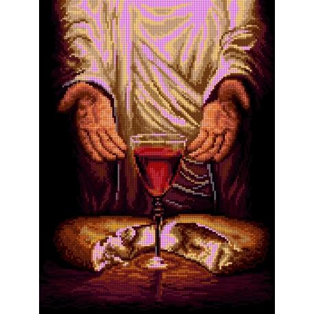 Haft krzyżykowy - do wyboru: kanwa z nadrukiem, nici Ariadna/DMC, wzór graficzny - Jezus Chrystus - Chleb  (No 7271)