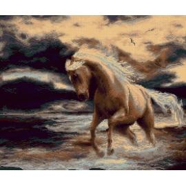 Haft krzyżykowy - do wyboru: kanwa z nadrukiem, nici Ariadna/DMC, wzór graficzny - Koń w wodzie (No 7273)