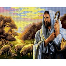 Haft krzyżykowy - do wyboru: kanwa z nadrukiem, nici Ariadna/DMC, wzór graficzny - Jezus Chrystus z Owieczkami (No 7277) VI