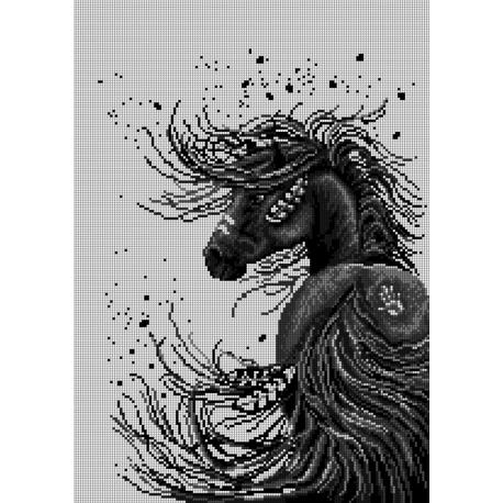 Haft krzyżykowy - do wyboru: kanwa z nadrukiem, nici Ariadna/DMC, wzór graficzny - Czarny koń (No 7278)