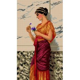 Haft krzyżykowy - do wyboru: kanwa z nadrukiem, nici Ariadna/DMC, wzór graficzny - Kobieta z kwiatkiem (No 7275)