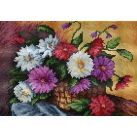 Kanwa z nadrukiem kolorowym - B. Sikora - Kwiaty Jesienne astry (No 94638)