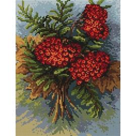 Haft krzyżykowy - do wyboru: kanwa z nadrukiem, nici Ariadna/DMC, wzór graficzny - Jesienna jarzębina B. Sikor (No 94621)