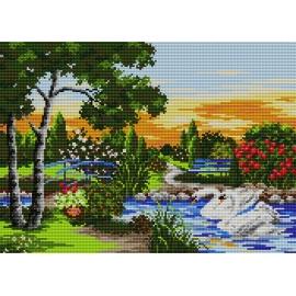 Haft krzyżykowy - do wyboru: kanwa z nadrukiem, nici Ariadna/DMC, wzór graficzny - Łabędzie w parku (No 5049)