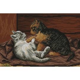 Haft krzyżykowy - do wyboru: kanwa z nadrukiem, nici Ariadna/DMC, wzór graficzny - Bawiące się kotki (No 94186) VI