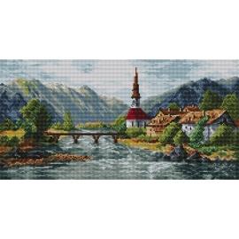 Haft krzyżykowy - do wyboru: kanwa z nadrukiem, nici Ariadna/DMC, wzór graficzny - Górskie miasteczko (No 94144)