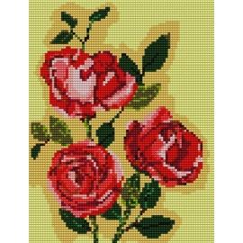 Haft krzyżykowy - do wyboru: kanwa z nadrukiem, nici Ariadna/DMC, wzór graficzny - Róże (No 5050)