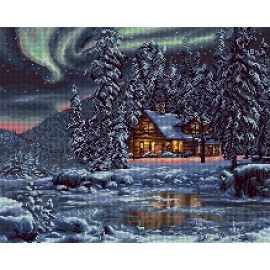 Haft krzyżykowy - do wyboru: kanwa z nadrukiem, nici Ariadna/DMC, wzór graficzny - Pejzaż zimowy - chata (No 7300)
