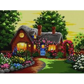 Haft krzyżykowy - zestaw do haftowania ściegiem krzyżykowym -Domek chatka w kwiatach (No 5092)
