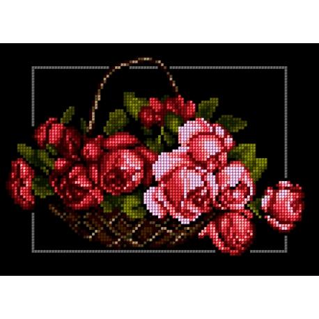 Haft krzyżykowy - do wyboru: kanwa z nadrukiem, nici Ariadna/DMC, wzór graficzny - Kosz z kwiatami - róże (No 5330)