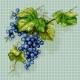 Haft krzyżykowy - do wyboru: kanwa z nadrukiem, nici Ariadna/DMC, wzór graficzny - Winogrona - kiść winogron (No 7293)