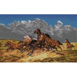 Haft krzyżykowy - do wyboru: kanwa z nadrukiem, nici Ariadna/DMC, wzór graficzny - Mustangi (No 9733)